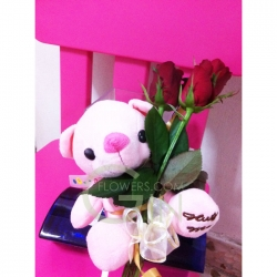 HB0001-Long Stemmed Rose With Bear