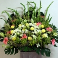 QF01202-white lilies pink gerberas wreath