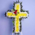 QF0591-White Poms Yellow Poms Cross Wreath