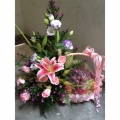 QF0870-fresh fruits flowers basket