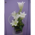 QF1155-White Lilies Table Arrangement